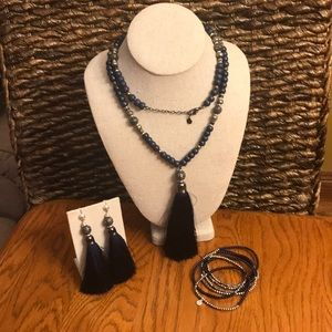 Stella & Dot Navy Tassle Coordinating pieces